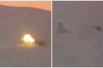 Momentul in care un elicopter rusesc e doborat de ISIS in Siria. Moscova a confirmat ca cei doi piloti rusi au murit. VIDEO