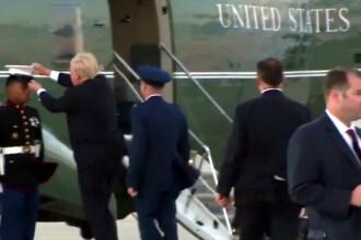 Momentul in care Trump incearca sa ajute un soldat, dar vantul ii strica planul. Cum a ajuns presedintele viral pe internet