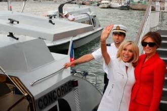 Melania Trump a intalnit-o pentru prima data pe Brigitte Macron. Gluma pe seama tinutelor celor doua Prime Doamne. FOTO