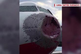 Furtuna puternica la Istanbul: zece persoane au fost ranite. Botul unui avion, distrus de grindina