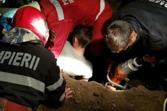 Bărbat surprins de un mal de pământ în Sibiu. Pompierii au reuşit să-l scoată