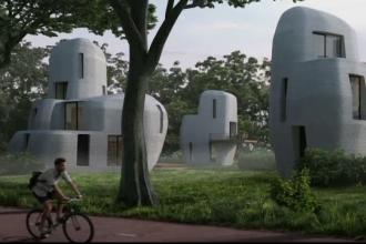 Primul cartier de locuințe scoase la imprimantă 3D, ridicat la Eindhoven. Cum sunt construite casele