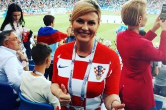Kolinda, președinta Croației, a dansat în fața lui Medvedev la meciul cu Rusia. Reacția premierului rus