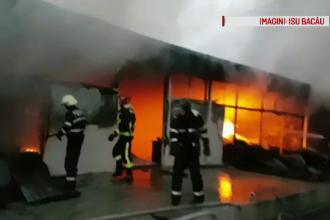 Incendiu violent în Bacău, la sediul a două firme. Ce se afla în hala curprinsă de flăcări