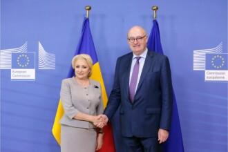 Viorica Dăncilă s-a întâlnit cu comisarii Corina Crețu și Phil Hogan, la Bruxelles. Imagini publicate de Guvern, fără sunet