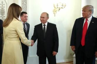 Momentul în care Melania Trump a dat mâna cu Putin. Ce s-a observat în imagini. VIDEO