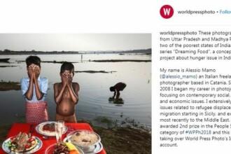 Revoltă după ce un fotograf a pozat copii cu ochii acoperiți și cu mâncare falsă în față