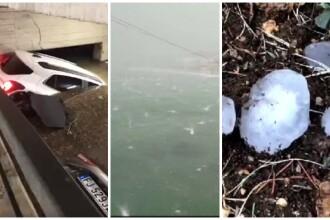 Imagini apocaliptice în Italia: grindină cât portocala, zeci de răniți, mașini distruse