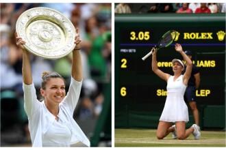 Primele imagini cu Simona Halep cu trofeul de la Wimbledon. GALERIE FOTO