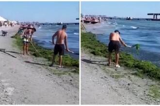 Tânăr filmat în timp ce aruncă înapoi în apă cu lopata algele de pe plajă, la Mamaia