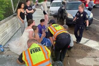 Momentul emoționant în care o asistentă sare în ajutorul victimelor unui accident, în rochie de mireasă