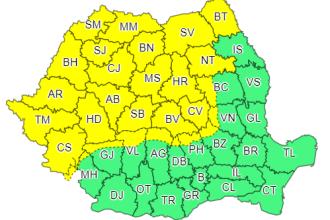 Cod galben de ploi torenţiale, vijelii şi grindină, în jumătate de țară. Prognoza pentru finalul săptămânii