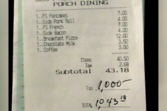 Un american a lăsat bacșiș 1000 $ la un restaurant, în semn de mulțumire că a fost deschis pe perioada pandemiei