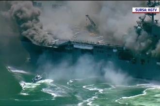 VIDEO. Incendiu urmat de explozii la bordul unui portavion american. 18 militari au fost răniţi
