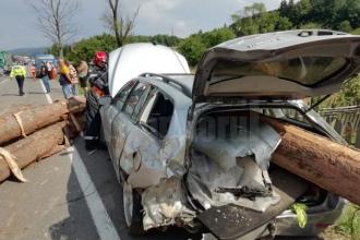 Mai mulți bușteni au căzut dintr-un camion, într-o curbă. 3 persoane, printre care și un copil, grav rănite