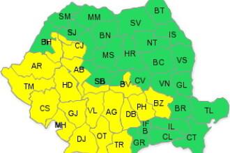 Cod galben de ploi torentiale si vijelii in sudul si sud-vestul tarii