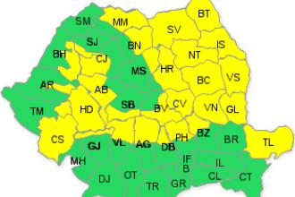 Vijelii si grindina in Moldova, Delta Dunarii, zonele montane. E cod galben