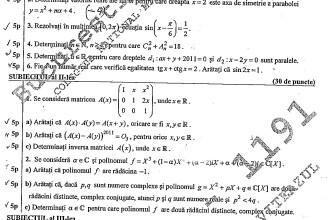 Bac 2011: Iata subiectele la matematica - M1, M2 si M4. Algebra, analiza si trigonometrie in 3 ore
