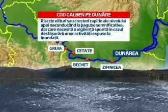 Cod galben de inundatii pe Dunare, incepand de duminica dimineata. Masurile anuntate de autoritati