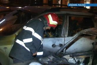 Trei masini au ars intr-o parcare din Tulcea. Focul ar fi fost pus de un consumator de etnobotanice