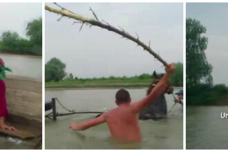 Momentul in care doi romani, sot si sotie, mor in apele Jiului. Mai multi pescari au filmat totul si s-au intrecut in glume