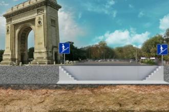 ANIMATIE GRAFICA. Pasaj subteran la Arcul de Triumf. Planul prin care monumentul poate atrage 35.000 de turisti pe an