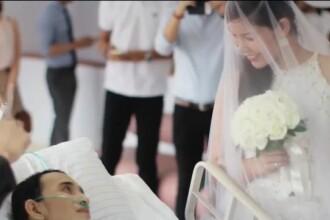 Imaginile care au emotionat o planeta. S-au casatorit cu 10 ore inainte ca mirele sa moara de cancer. VIDEO de la ceremonie