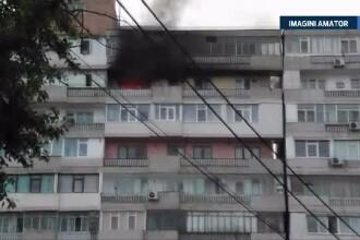 Incendiu puternic intr-un bloc din centrul Galatiului. Toti locatarii au fost evacuati de urgenta