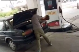 Un barbat isi bate nevasta si o inchide in portbagajul masinii. Imaginile revoltatoare surprinse intr-o benzinarie: VIDEO