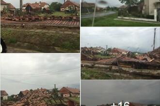FOTO Acoperisurile a peste 300 de case, distruse in comuna Cuci. Localnicii spun ca a fost o tornada