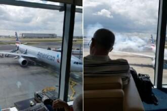 Avion evacuat de urgenta pe aeroportul Heathrow din Londra, dupa ce a iesit fum din cabina. Primele imagini