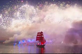 Ceremonie spectaculoasa la Sankt Petersburg cu ocazia incheierii anului scolar. Ce simbolizeaza vasul cu panze purpurii