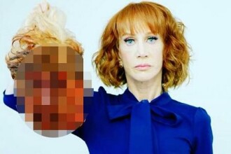 Actrita Kathy Griffin a creat controverse cu o fotografie in care apare tinand capul lui Trump. CNN a concediat-o