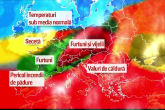 Romania, impartita de furtuni si canicula. Filmul zilei de vineri, cand nordul a fost lovit de vijelii, iar sudul s-a topit