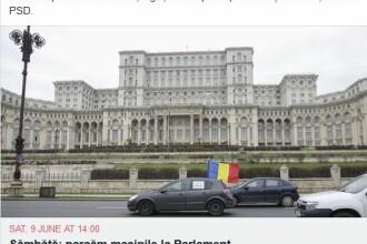 """Protest inedit, lansat pe Facebook. """"Sâmbătă, parcăm mașinile la Parlament"""""""