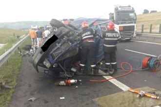 Accident grav pe autostrada Sibiu-Orăștie. O persoană a murit, 5 au fost duse la spital