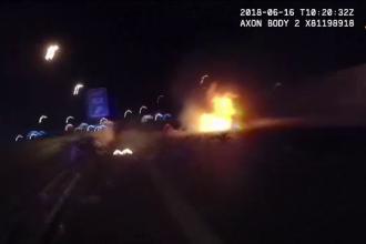 Explozie ca în filme pe străzile din Vegas. Ce au descoperit polițiștii în mașina distrusă