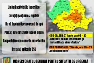 Peste 3.200 de salvatori mobilizaţi în judeţele vizate de codurile de vreme rea
