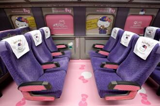 Un tren Hello Kitty de mare viteză va circula în Japonia. Imagini din interior