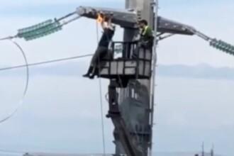 Situație de risc, la 40 de metri înălțime. Cum a fost surprins un electrician. VIDEO