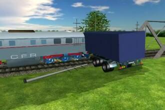 ANIMAȚIE GRAFICĂ cu trenul deraiat după ce a lovit un camion în Bacău