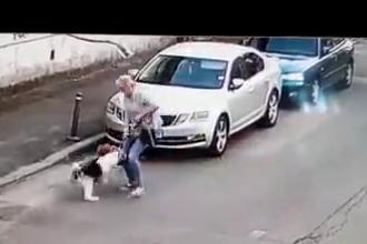 VIDEO. Câine atacat de un Amstaff lăsat liber. Cinci oameni s-au luptat cu animalul