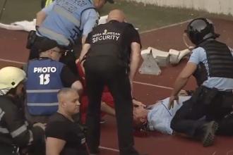 În ce stare se află jandarmul lovit cu un scaun în cap pe stadion în Cluj
