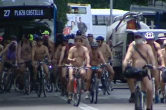 Marș cu bicicliști dezbrăcați complet, la Madrid. Ce îi nemulțumește