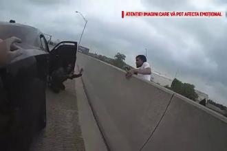 Un tânăr a scăpat cu viață, după ce a căzut de pe un pod. Momentul surprins de un polițist. VIDEO