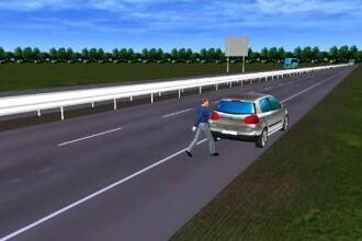 ANIMAȚIE GRAFICĂ. Șofer strivit pe banda de urgență. Cum s-a produs accidentul de pe A2