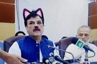 Politicieni cu mustăți și urechi de pisică, în timpul unei ședințe. Momentul, transmis live