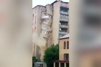 Un bloc cu nouă etaje din Moldova s-a prăbuşit. Imaginile sunt șocante