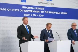 Iohannis, declaraţie comună cu Tusk şi Juncker.