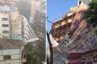 Incidente în lanț în Capitală. Cum s-a desprins o schelă uriașă de pe un bloc în reabilitare